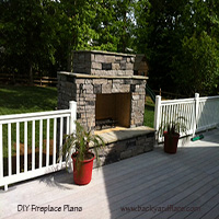DIY Outdoor Fireplace with deck