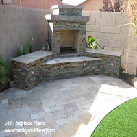 DIY Outdoor Fireplace with seating