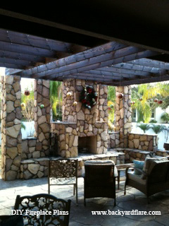 Outdoor Fireplace on covered patio