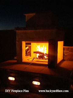 Nighttime Outdoor Fireplace