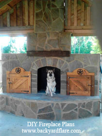 Outdoor Fireplace with storage under wood roof
