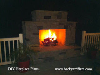 Outdoor Fireplace with deck