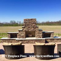 Outdoor Fireplace with storage and seating