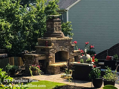Outdoor Fireplace with storage