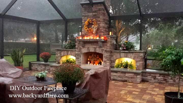 Screened in Outdoor Fireplace with storage and seating