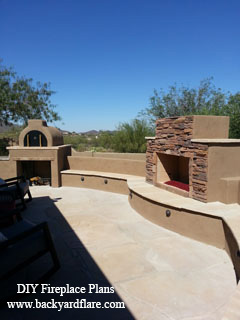 Outdoor Fireplace and Pizza Oven with seating