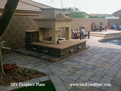 Outdoor Fireplace with pool