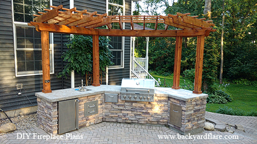 Outdoor Kitchen with refridgerator and counter under pergola